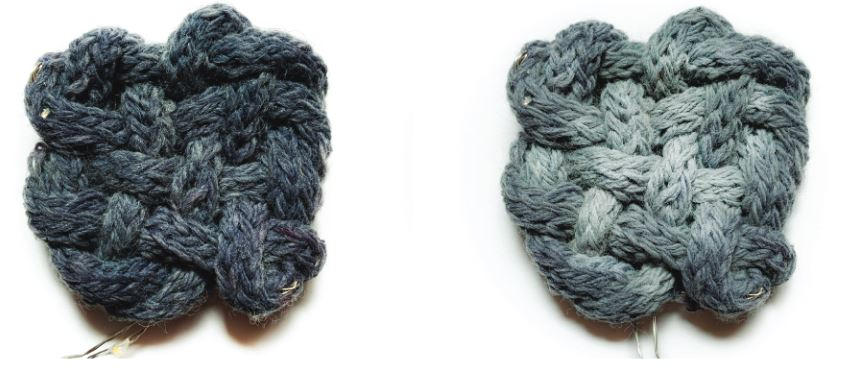 Two examples of the woven Swatch, left before exposure to light, right after 73 hours of exposure.